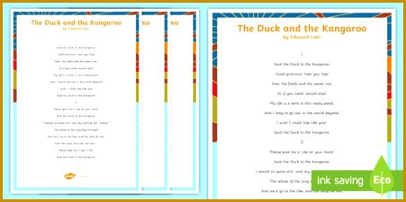 The Duck and the Kangaroo Edward Lear Poem Handwriting Practice Worksheet Activity Sheet English 292585