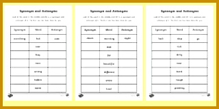 Synonyms and Antonyms Activity Sheet 160320