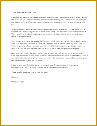 Sample plaint Letter to Retail Store 409316