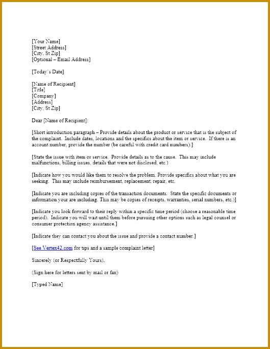 plaint Letter Template 685529