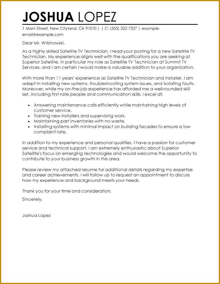 Resume cover letter examples endowed customer service satellite tv technician installer standard 800 advice 962744
