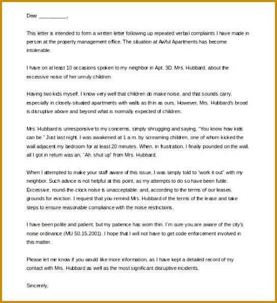 Apartment Noise Landlord plaint Letter Template Example 595544