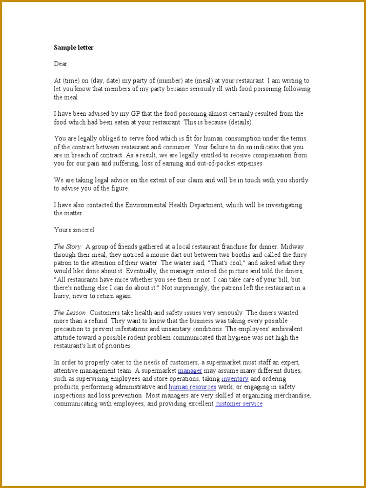 Collection Solutions Plaint Letter Sample Restaurants Quality Claim Restaurant And Fabulous Hotel plaint Letter 952714
