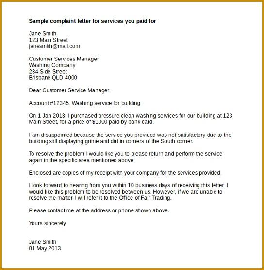 Services plaint Letter Template Word Doc Download 544558