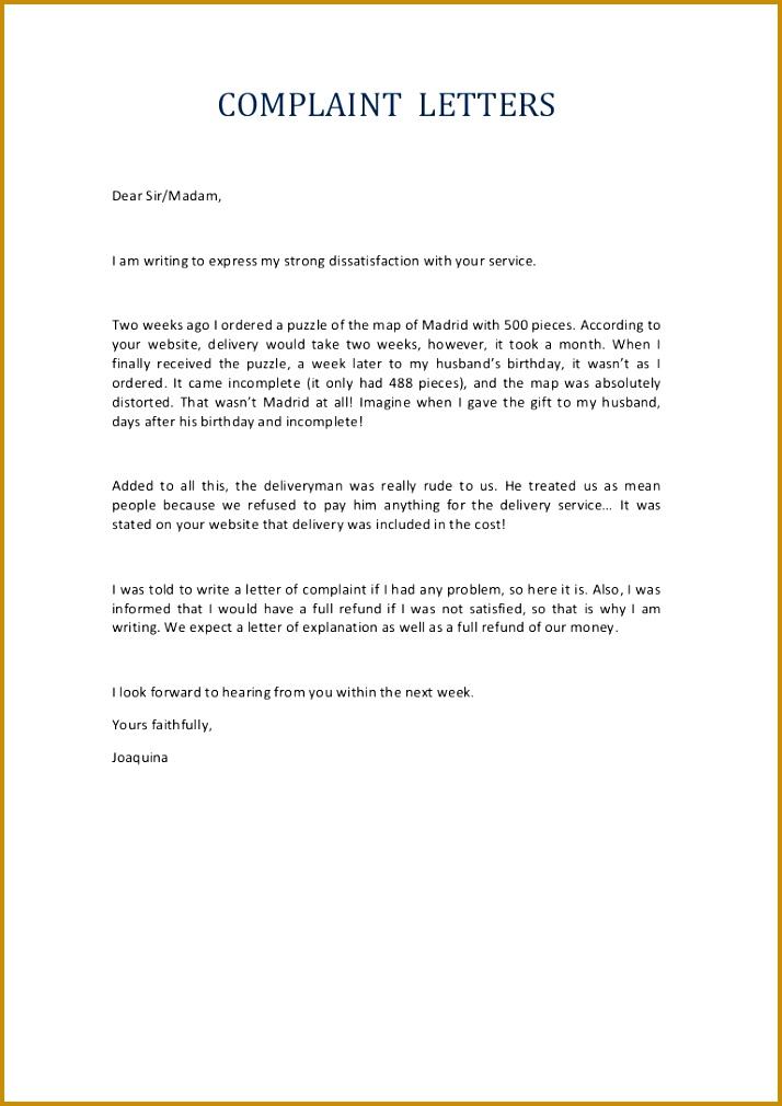 plaint Letter Service 1010714