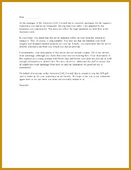 Restaurant plaint Letter Response Letter of plaint 338261