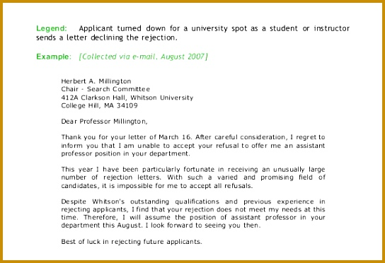 Sample College Rejection Letter Template 372544