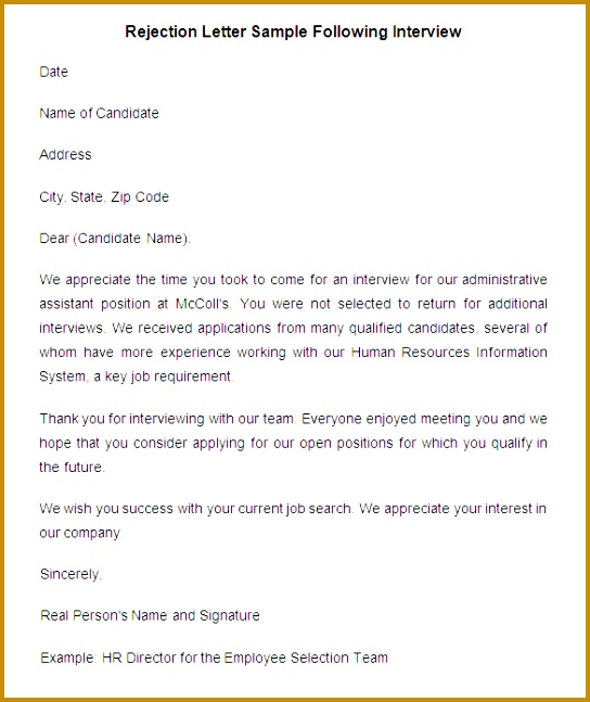 Rejection Letter Sample Following Interview 647544