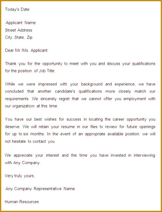 Sample Application Rejection Letter 712544
