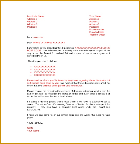 Example Disrepair plaint Letter to Landlord Free Download 558544