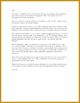 Apartment Noise Landlord plaint Letter Letter of plaint 338261