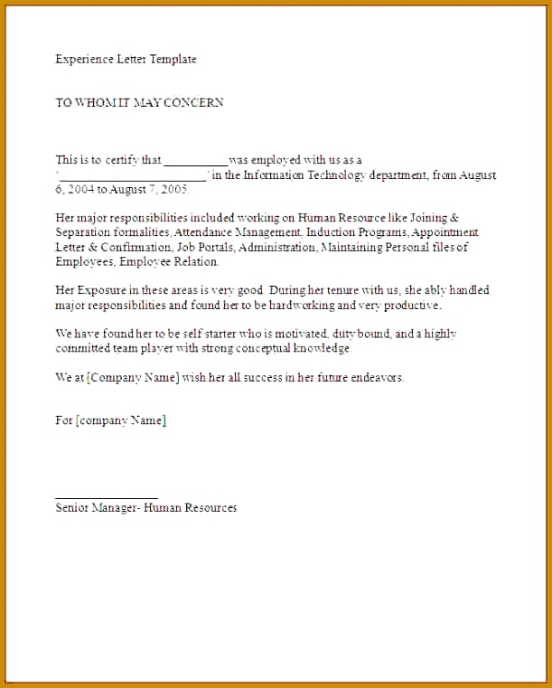 Experience Letter Work Experience Letter sample Work Experience Letter 761611