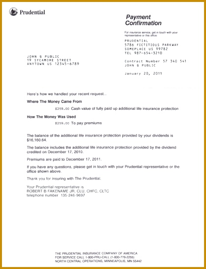 Confirmation Letter from Prudential 546418