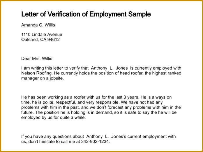 letter of verification of employment sample 312 0 522697