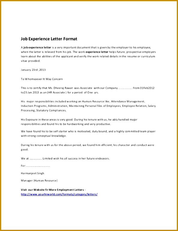 6 Confirmation Letter for Work Experience