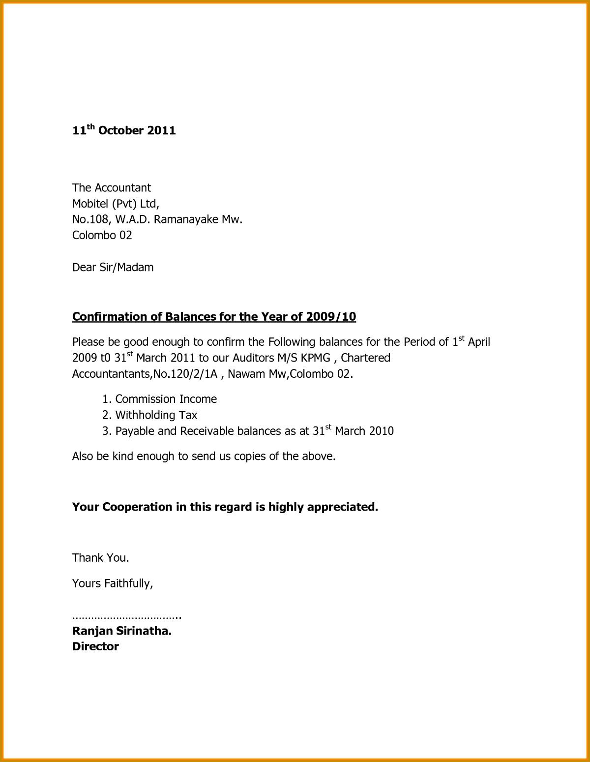 7 balance confirmation letter format 15491200