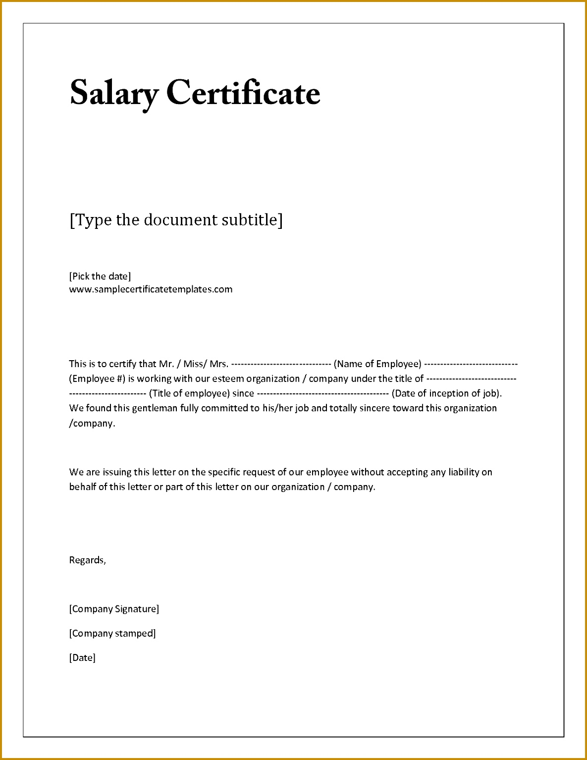 Salary Confirmation Letter Format 11851534