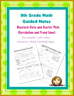 Math 8 Guided Interactive Math Notebook Page Scatter Plots & Correlation Intro 325251