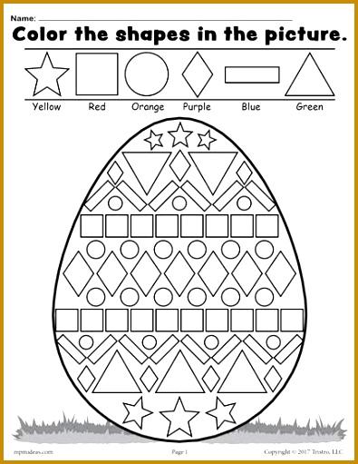 Color the Shapes in the Easter Egg Worksheet 511395