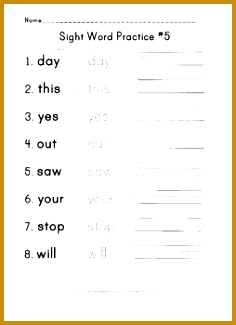 children in recognizing and writing a series of sight words from the Dolch Sight Words list This is a great worksheet for spelling word practice 325236