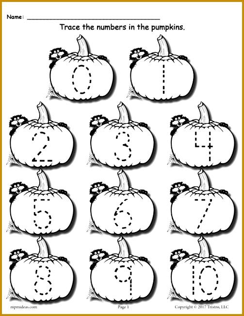 FREE Printable Pumpkin Number Tracing Worksheets 1 20 651503