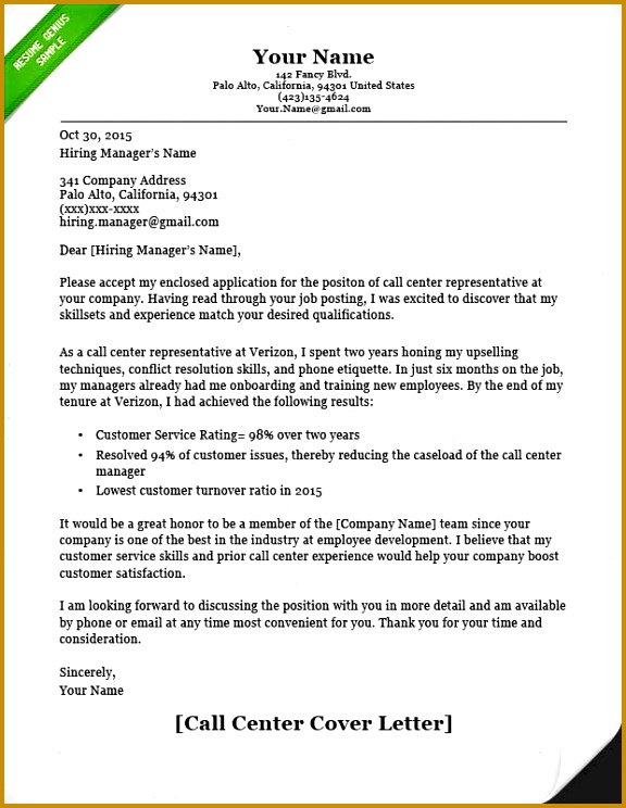Call Center Cover Letter Example 744576