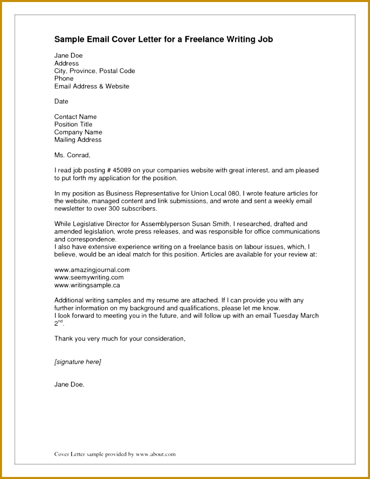 Cover Letter Email Example 5 In 952735