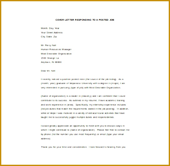 Email Cover Letter Responding to Posted Job Word Format Free Download 532544