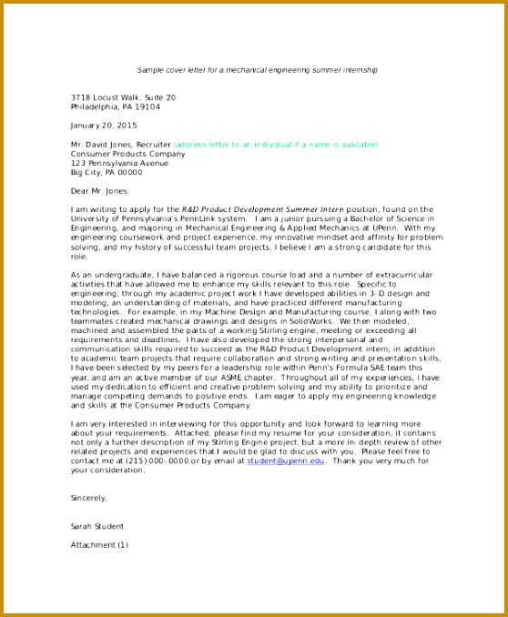 Sample Cover Letter For Engineering Internship 678558