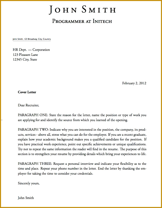 Resume Outline Student Job Application Cover Letter Hr Within 19 837651