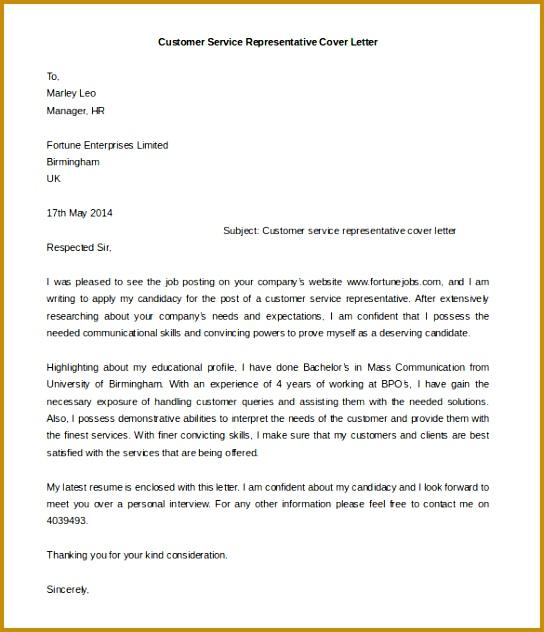 Download Customer Service Representative Cover Letter Template 544632