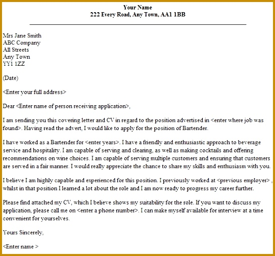 Bartender Cover Letter Sample Lettercv within Bartender Cover Letter No Experience 506544