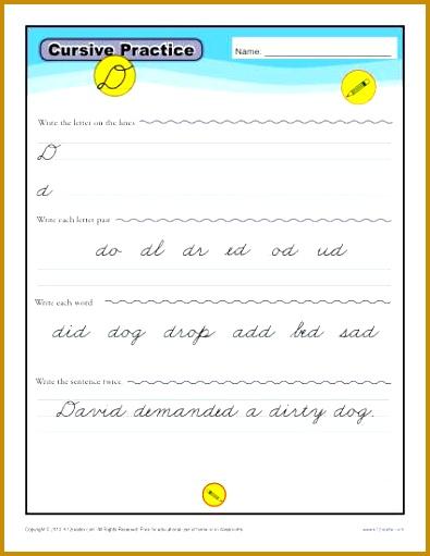 Cursive D – Letter D Worksheet 511395