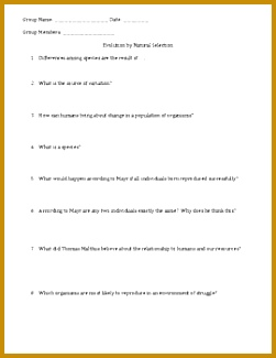 Evolution by Natural Selection Worksheet 325251