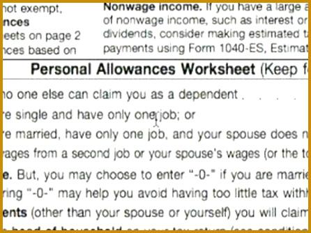 Basic Explanation of W 4 tax Form Personal Allowance Worksheet A thru D W 4 Tax Form 446334