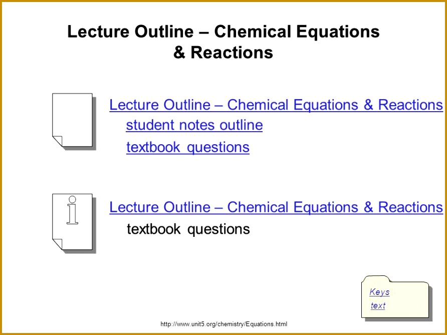 Lecture Outline – Chemical Equations & Reactions 669892