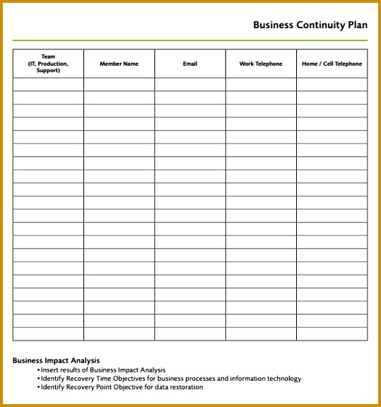 Business Continuity Plan Template 576539