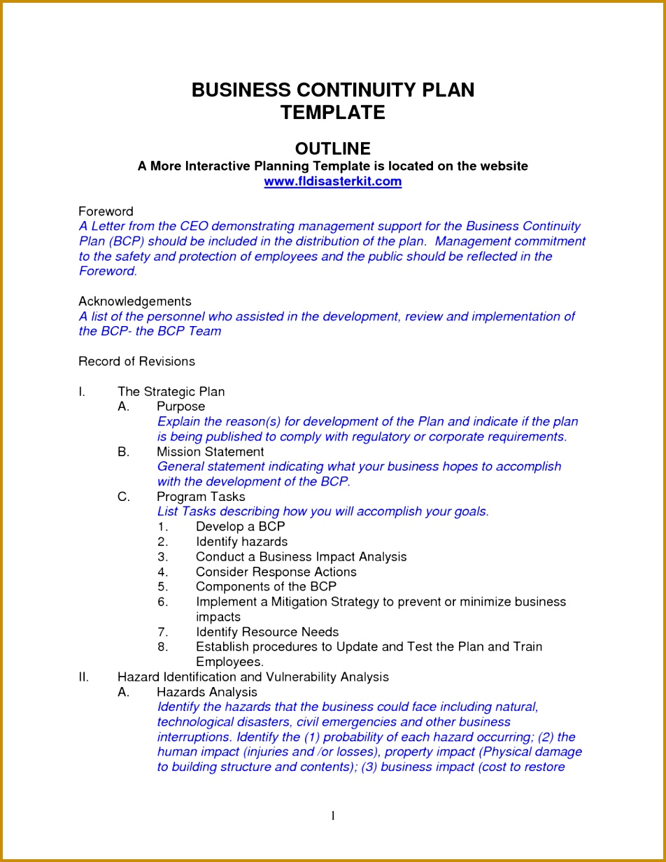 Bussinesn Free Business Continuity Template Risk Management Cyberuse For Doc Disaster Recovery 1232952