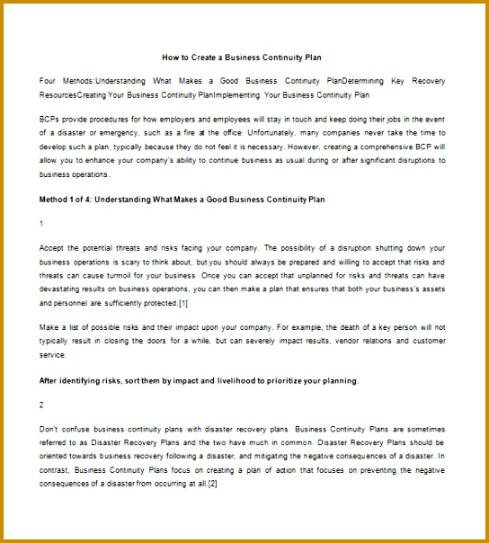 How to Write Business Continuity Plan Template 604544