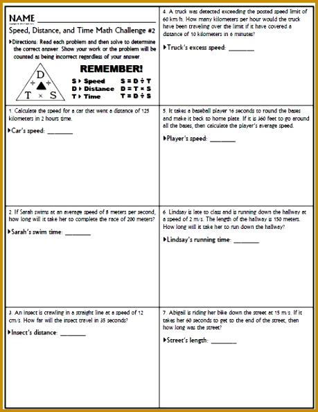 6 Distance Rate Time Word Problems Worksheet