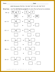 Here s a set of tiered worksheets for solving multiplication problems using the distributive property 219285