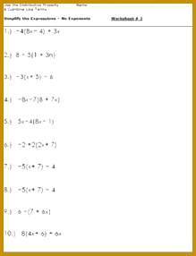 Algebra Worksheets for Simplifying the Equation Simplifying ExpressionsAlgebra WorksheetsDistributive PropertyStudent 286219