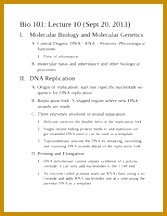 Notes on DNA Replication Bio 101 Lecture 10 I Molecular Biology and Molecular Genetics A Central Dogma DNA RNA Proteins Physiological functions 1 216167