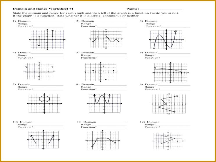 4 Domain and Range Worksheet Algebra 1   FabTemplatez