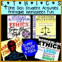 ETHICS 4 Pack 4 e Day Student Activities in Fun Printable Worksheets 219219