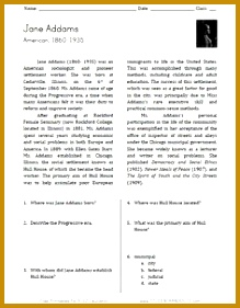 Jane Addams Reading Worksheet 281219