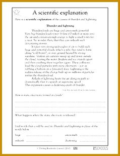 3rd grade 4th grade Reading Writing Worksheets Reading prehension thunder and lightning 308238