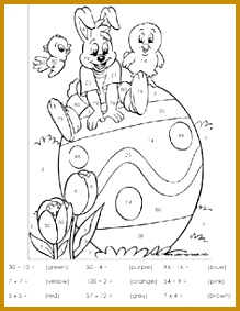 Easter color by number worksheet quiet time coloring in 283219