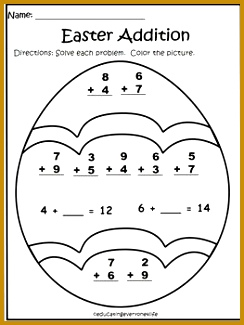 This is a FREE Easter addition worksheet for you to print and use with your students The students solve the problems and color the Easter egg 325244