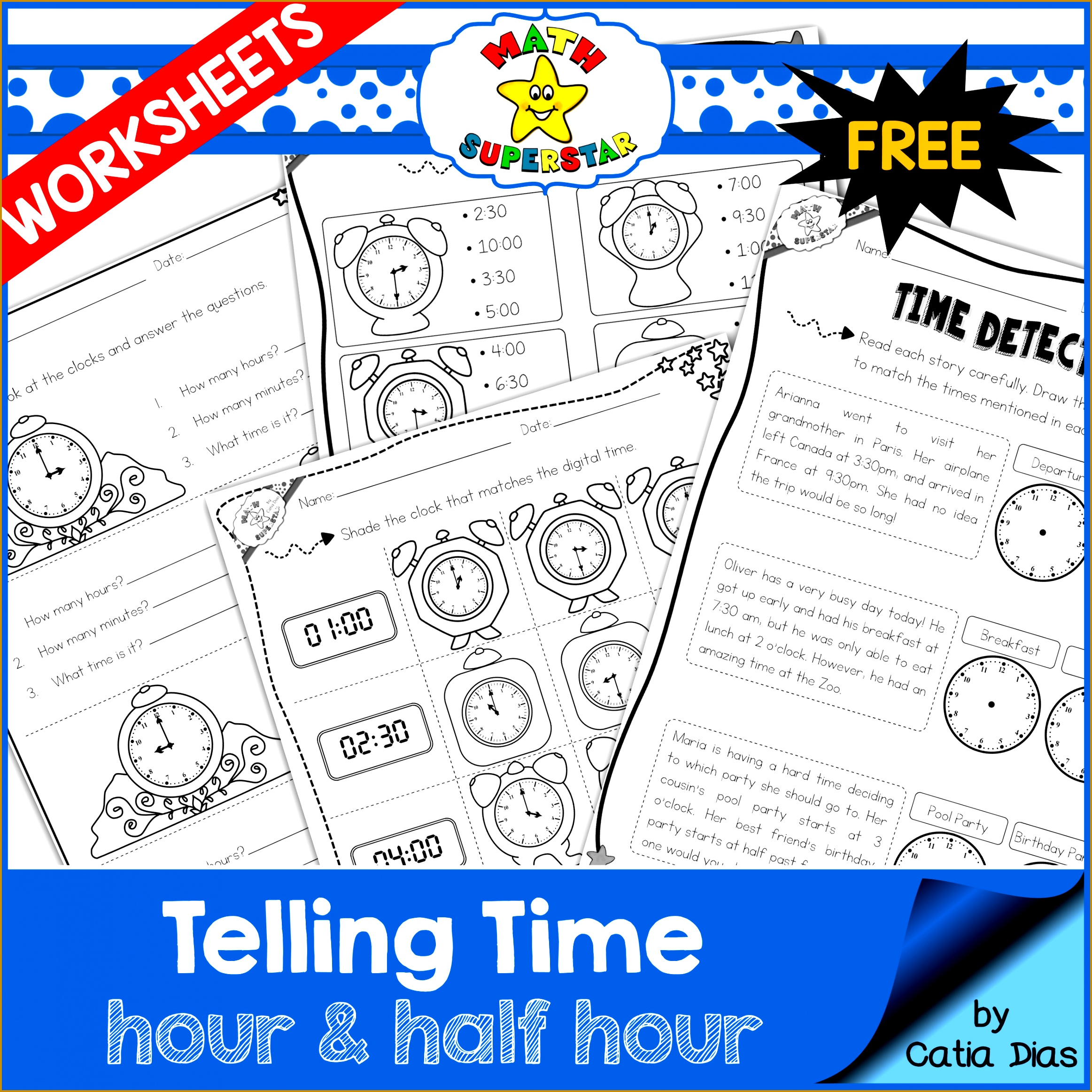 FREE Telling Time Worksheets hour and half hour 23252325